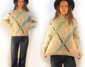 Vintage Mock Neck Argyle Pullover Sweater // size large