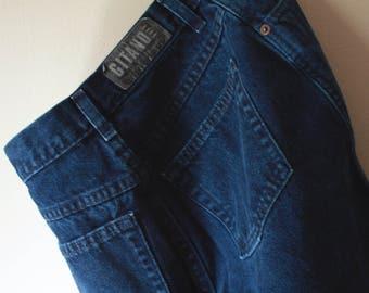 SALE Vintage 90's Cool GITANO High Waist Dark Blue Jean Shorts 28 Medium