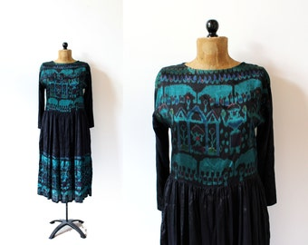 vintage dress 90's black green pier one passports ethnic dyed 1990's women's clothing size s small