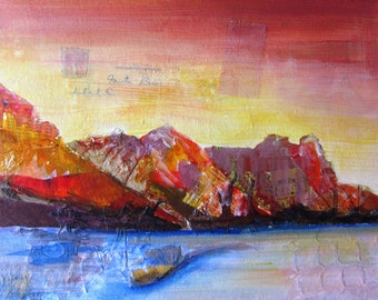Landscape - a print of an original mixed media collage / painting - A4 size