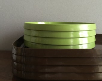 vintage oblique brown oval stacking trays set of 4