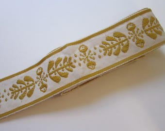 2 yards vintage woven ribbon - 2 inches - cream with embroidered botanical pattern