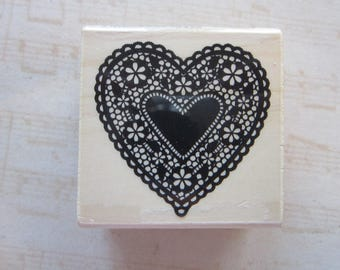 rubber stamp - HEART DOILY - valentine, lace heart
