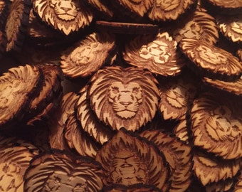 12 PCS Engraved Lion Unfinished Wood Shapes