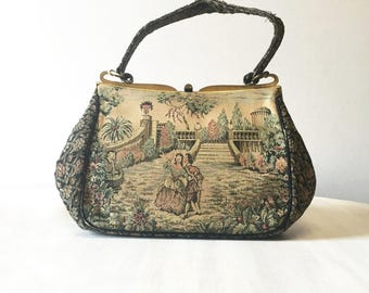 Italian tapestry purse, tapestry bag, vintage handbag, vintage purse, tapestry handbag, vintage Italian, made in Italy, retro Italian purse