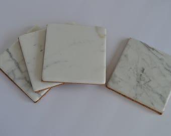 4 Calacatta Marble Coasters