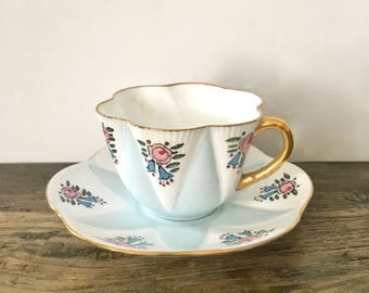 Shelley Teacup Pale Blue with dainty hand painted floral design / Dainty scalloped teacup