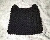 Hand Knit Kitty Cat Ear Hat - Solid Black Cat Kitty