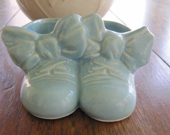 McCoy Blue Baby Shoes Planter