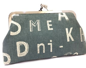 clutch purse -  letter - typography -  yellow - green - 8 inch metal frame clutch purse - large purse - kisslock - clutch bag - coin purse