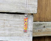 Bar Flower Pendant Necklace, Charm, Real Flowers, Boho, Bohemian, Hippie, Jewelry, accessory, Women, Spring, Gift for Her, Charm, Silver