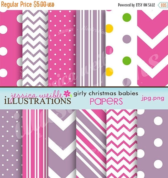 ON SALE Girly Christmas Babies Cute Digital Papers for Card Design, Scrapbooking, and Web Design