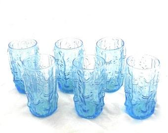 Light Blue Juice Glasses with Bamboo Design, Vintage Set of 6 Colony Glasses (J2)
