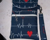 Nurse/Nursing/EKG pattern Fabric Cell Phone Case/Wristlet