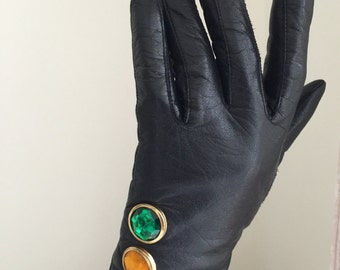 vintage black leather gloves rhinestone 1990s 1980s 90s red yellow green traffic light party glam avant garde