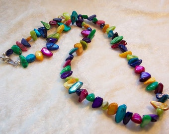Multi Color Mother of Pearl Necklace, Small Nugget Necklace, Blue, Green, Yellow, Purple, Turquoise, Red Mother of Pearl Chips Nuggets
