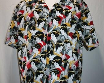 Handmade Geisha Aloha style shirt in Size Large