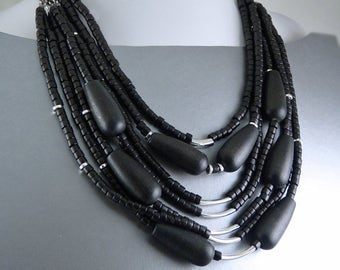 Tribal Black Wood Bib Multi-strand Necklace.
