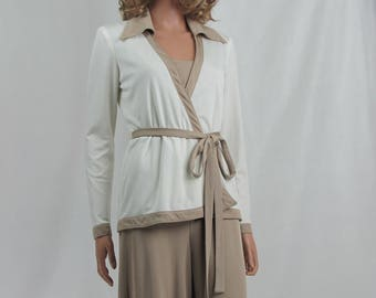 Vintage 1970s  Jumpsuit with Matching Wrap Jacket Taupe and White