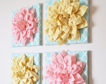 """SALE Set of Four Light Yellow and Light Pink Dahlias on Blue Tarika 12 x12"""" Canvases Wall Art- CHOOSE YOUR Colors-"""