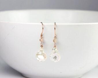 Gemstone Earrings Oregon Sunstone Peach Gemstone Flake Keshi Pearl Rose Gold Wrapped Earrings Bridal Jewelry