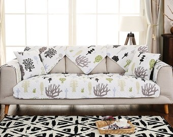 Fantasy Forest Sofa Cover Couch Slipcover Loveseat Cover Cotton Brown Green Trees Home Decor