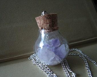 Amethyst pendant | crystal necklace | purple | glass bottle | raw | quartz