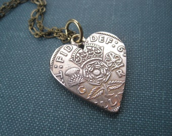 Lovely England Scotland UK Vintage 2 Two Shilling Coin Heart Pendant on Thin Brass Chain. Ready to Ship.