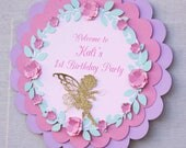 fairy birthday welcome sign, fairy birthday door sign, fairy decorations, printed fairy sign ,1st birthday party decor, fairy party decor