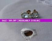 Sunshineclub Aquamarine Earrings Studs, Birthstone Earrings, March Birthstone, 2 Ct Gemstone