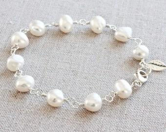 Baroque Pearl Bracelet, Sterling Silver Charm Bracelet, Rosary Bracelet, Wire Wrapped Bracelet, Freshwater Pearl Bracelet for Women