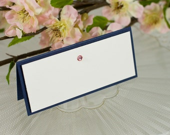 Blank, Double-Layered, Crystal-Studded Seating Card