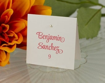 Square, Pearl-Studded Seating Card