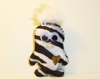 Cute monster, black and white stripes, kids toys, monster toy, gifts for children, stuffed animals, handmade plush, zebra print