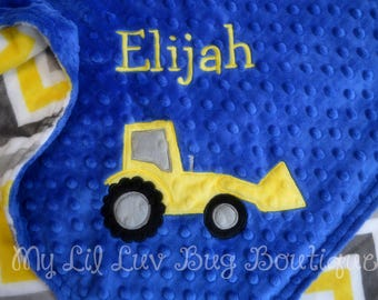 Baby blankets personalized - bulldozer baby blanket - construction baby blanket - monogrammed baby blanket - baby gift personalized