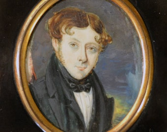 Antique miniature painting/Georgian portrait miniature of young gentleman/Regency miniature/ebonised gilded frame