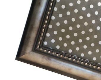 Magnet Board - Magnetic Memo Board - Dry Erase Board - Framed Bulletin Board - Office Wall Decor -Silver Polka Dot Design - includes magnets