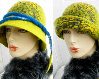 felted woman ART silk and wool merino  hat and broosh
