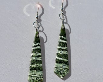 Natures Sketches - Shimmering Green Line Jasper Sterling Silver Earrings