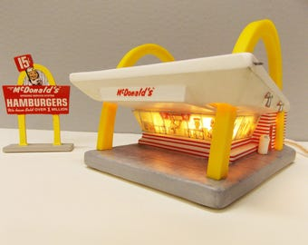 Vintage 1996 McDonald's Collectible--- Plug-In McDonalds Golden Arches with Roadside Sign