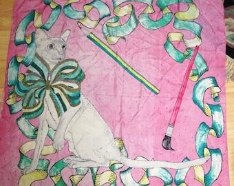 ON SALE Vintage Pure Silk Siamese Cat Large Square Art Scarf