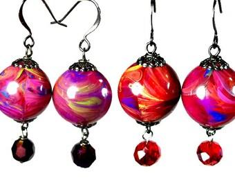 Colorful Bead Dangle Earrings, Multi Color Earrings, Purple Dangle Earrings, Red Earrings, Lightweight