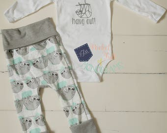 Sloth pant bodysuit   Coming Home Outfit & Larger