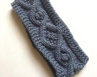 hand knitted headband earwarmer  grey with wool uk seller