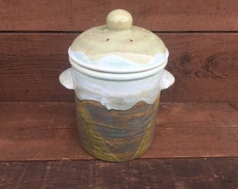 Flowing Earth Tone Ceramic Compost Canister with Charcoal Filter - Spring Green and Riverstone Moss