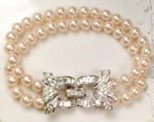 Art Deco Pearl Rhinestone Bracelet 1920 Multi Strand Cream Ivory Glass Pearl Ornate Pave Silver Clasp Vintage Gatsby Flapper Bridal Bracelet