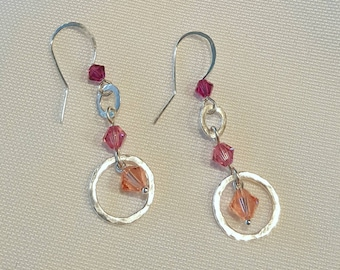 Valentines Day Gift - Rose Pink Peach Hammered Silver Link  Earrings -  Cyberlily
