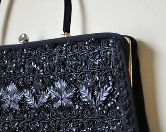 Vintage 50s Caron of Houston Black Beaded Handbag Clutch Evening Bag