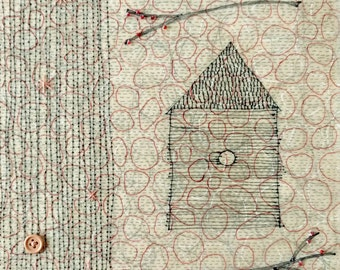 House and Branches /Ink Drawing in Beeswax with Beads / House in the Woods