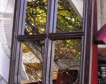 Gothic Window Frame Mirror  Distressed Kona Brown